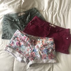 Jean Shorts Bundle Bundle of Cotton On Floral, burgundy, and military green Jean Shorts (3). Lightly used, in excellent condition! Sandals not included. Size 4 Cotton On Shorts Jean Shorts
