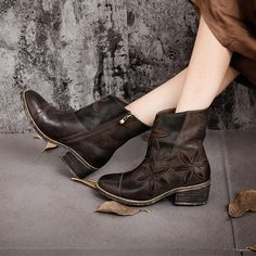 93.50$  Buy here - http://ali6j0.worldwells.pw/go.php?t=32718952173 - Plus size 41 Boots Women Heels Shoes Sheepskin Leather Knight boots Women Ankle Boots chinese embroidery shoes