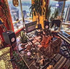 Room with a view 😍 Artist Milana May working on new music in her amazing studio 📷 instagr. Home Recording Studio Setup, Home Studio Setup, Music Studio Room, Studio Studio, Studio Ideas, Home Music Rooms, Music Bedroom, Men Bedroom, Tool Music