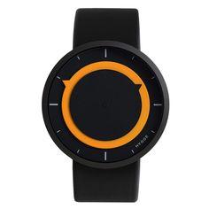 Orange and black Hygge 3012 watch. Design by Mats Lönngren.
