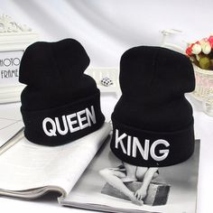 King Queen Letter Print Beanie For Men And Women Winter Warm Knitted Hats Couple Lovers Ski Cap Hip hop Skullies Beanies Winter Knit Hats, Warm Winter Hats, Winter Hats For Women, Hats For Men, Winter Beanies, Women Hats, Shirts & Tops, Babe, Hip Hop Hat