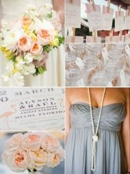 peach & gray = June wedding  Ooh, I really like this. Maybe a coral in addition to the peach and gray...