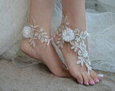 ivory gold frame,Beach wedding sandals, ivory barefoot , french lace sandals, we… - Summer Shoes Barefoot Sandals Wedding, Beach Wedding Shoes, Bridal Sandals, Barefoot Beach, Lace Wedding, Gold Lace, Bare Foot Sandals, French Lace, Anklet