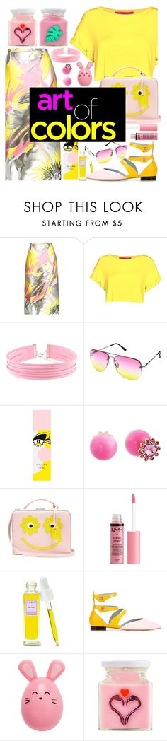"""""""art of colors"""" by cordelia-fortuna ❤ liked on Polyvore featuring Rochas, Quay, MAC Cosmetics, Kate Spade, Mark Cross, Charlotte Russe, Rodin, Chiara Ferragni, Flamingo Candles and contest"""