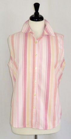 LL Bean Sleeveless Button Front Cotton Shirt Stripes Pink  L #LLBean #ButtonDownShirt #Casual