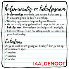 Hulpvaardig en behulpsaam Afrikaans Language, Afrikaanse Quotes, Teaching Aids, Success Quotes, Spelling, Lesson Plans, Humor, How To Plan, Education