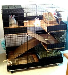 DIY Indoor bunny condo cage. This is the cage I built my rabbit Ruby. Got the idea from the source below.