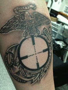 Military Sniper Tattoos   Eagle, Globe and Anchor with mil-dot reticle (sniper's crosshairs ...