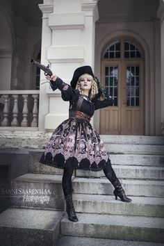 Long ears and sharp ears studio - Great Voyage gothic pirate lolita with steampunk vibes. Photo by Sanni Saarenmaa Photography