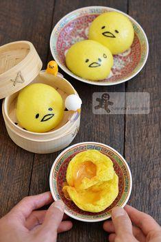 My Gudetama Liu Sha Bao/bakeforhappykids Steamed Cake, Steamed Buns, Cute Snacks, Cute Desserts, Steam Buns Recipe, Bao Buns, Cocoa Cookies, Cute Bento, Good Food