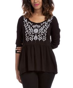 J.Bella Black Embroidered Keyhole Back Blouse http://ebay.to/1yI8xXb