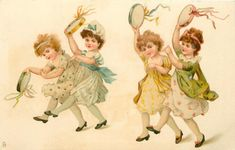 four girls dance left playing tambourines