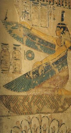Goddess Maat w/outspread wings & kneeling on a hieroglyphic sign which could signify 'mourn', was utilized at the entrance of a number of later New Kingdom royal tombs. Dyn. 19th: Tomb of Siptah. Valley of the Kings. Western Thebes. Egypt