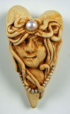 """Lady of Prague"" Polymer Clay Heart Pendant by Christi Friesen   eBay"