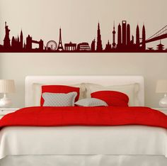 City Landmarks Of The World. Quality Vinyl Matte Wall Decal