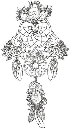 Art Nouveau Dream Catcher Tattoos