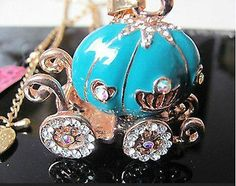 Betsey Johnson Shining  luxury pumpkin necklace in blue,goldtone & crystals - http://designerjewelrygalleria.com/betsey-johnson/betsey-johnson-shining-luxury-pumpkin-necklace-in-bluegoldtone-crystals/