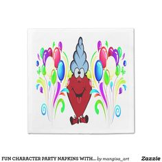 FUN CHARACTER PARTY NAPKINS WITH BALLOON PATTERN