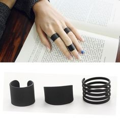 3pcs Black Open Spiral Stack Above Knuckle Rings Costume Jewelry - US$1.80