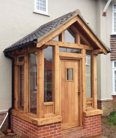 Gates, Doors and Porches - Roger Gladwell Timber Frame Construction Porch Uk, House Front Porch, Cottage Porch, Front Porch Design, Porch Entry, House Entrance, Porch Designs Uk, Enclosed Front Porches, Porch Extension