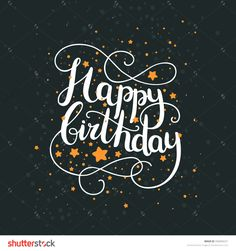 Happy birthday card with hand drawn lettering and space background. Letters written with a brush pen