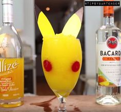 Pokemon Go Pikachu Cocktail - For more delicious recipes and drinks, visit us here: www.tipsybartender.com