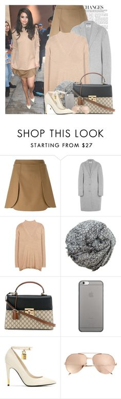 """celebrity style; selena gomez."" by gomezrevivals ❤ liked on Polyvore featuring Tory Burch, Acne Studios, Hat Attack, Gucci, Native Union, Tom Ford and Linda Farrow"
