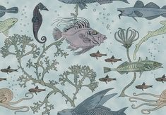 Fin and Tentacle wallpaper pattern designed by Charles Francis Annesley (CFA) Voysey, circa 1929. Available today via Trustworth Wallpaper