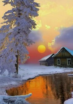 Que Imagem linda Winter Pictures, Nature Pictures, Beautiful Pictures, Beautiful Places, Watercolor Landscape, Landscape Art, Landscape Paintings, Simple Watercolor, Winter Painting
