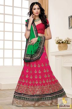 Green dark pink chiffon satin lehenga choli in discount offer. This graceful designer made heavy bridal chaniya choli is worth to buy. Order this attire with free home delivery service. #saree, #designersaree more: http://www.pavitraa.in/store/designer-collection/