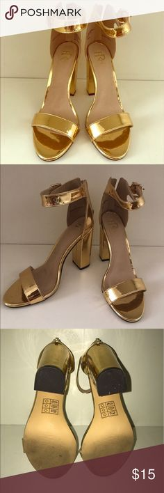 Gold Metallic Chunky Heels These fashionable heels will always be in style. Perfect for Spring & Summer. Can transition from day time to night life apparel. Only worn once. Get them before they're gone. Shoes Heels