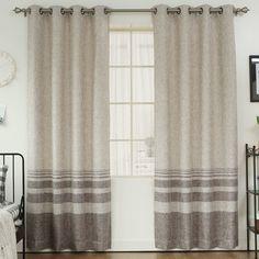 Best Home Fashion, Inc. Striped Shimmer Grommet Top Curtain Panels   AllModern