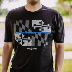 f54addf255a08 Maryland Flag Blue Line Police Support Shirt – Route One Apparel Blue Line  Police, Jersey