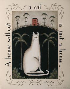 Chat blanc & noir Tuxedo chat primitif 11 x 14 par folkartbydonna