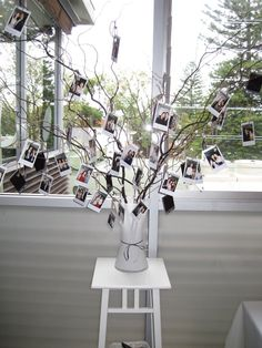 Hanging polaroid wish tree