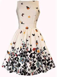 becca0e302 Romwe Butterfly Print Bow Waist Flare Tank Dress  dress  fashion  shopstyle   shopping