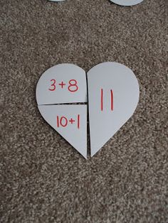 Valentine's addition, could have kids think of 2 ways other than addition to represent the number.