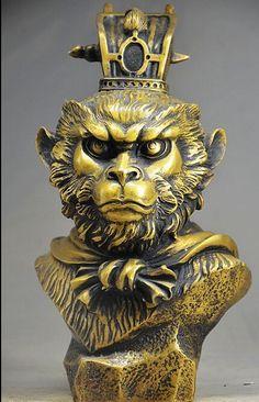 laozhao615++JJ++Ingenious Chinese Brass Handmade Statues -- Monkey King Head Statues(China (Mainland))