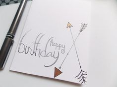 Items similar to Arrow Birthday Card - Happy Birthday Card - Birthday Card For Her - Birthday Card For Girl - Handlettered Birthday Card - Simple Card on Etsy Birthday Cards For Her, Happy Birthday Greeting Card, Birthday Wishes, Card Birthday, Happy Doodles, Simple Butterfly, Special Words, Handmade Greetings, Greeting Cards Handmade