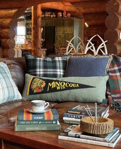 Vintage Pennant Pillow Old Trophies, Vintage Picnic Basket, Log Cabin Homes, Cabins, Vintage Lanterns, Stack Of Books, Spring Home, Thrifting, Pillows