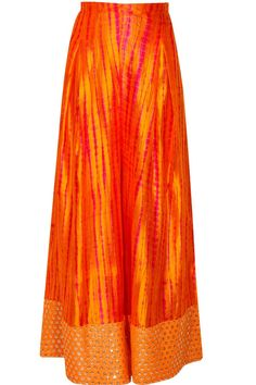 Orange embroidered kurta with shibori printed pants available only at Pernia's Pop-Up Shop.