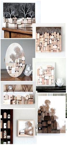 One of a kind Wall Wood Sculpture Miniature Houses Wooden Art, Wood Wall Art, 3d Wall, Wall Sculptures, Wood Sculpture, Miniature Houses, Wood Toys, Little Houses, Wood Blocks