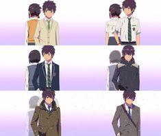 "Tachibana Taki - I just noticed, with Mitsuha you can see Taki growing older behind her. With Taki however, Mitsuha stays the same age as when she ""dies"". Sad Anime, Me Me Me Anime, Anime Love, Manga Anime, Your Name Movie, Your Name Anime, Miyazaki, Mitsuha And Taki, Kimi No Na Wa Wallpaper"