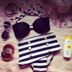 Super cute high-waisted bathing suit with accessories. ~Teenage Fashion~