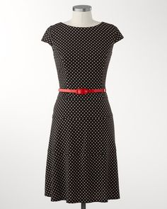 Belted polkadot dress | Coldwater Creek