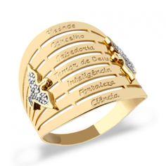 Anel 7 Dons do Espirito Ouro 18k, Comprar Anel 7 dons ouro 18k e brilhantes, anel 7 dons, comprar anel devocional de ouro 18k e brilhantes Joias by LG.