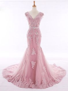 Prom Dress Mermaid, Prom Dress Long, Prom Dresses, V-Neck Evening Dress, Pink Evening Dress Mermaid Prom Dresses Lace, Mermaid Evening Gown, Pink Evening Dress, V Neck Prom Dresses, Pink Prom Dresses, Pageant Dresses, Evening Gowns, Lace Mermaid, Dress Prom