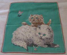 KITTENS, BUTTERFLY vintage handkerchief