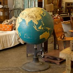 Vintage Globe from C. Sparks is an exquisite item with history: Used in a school for the blind, it features exaggerated topographic features, which helped teach students the shape of the world. Old Globe, Globe Art, Vintage Globe, Vintage Maps, Globe Tattoos, Antique Toys, Plans, Antiques, World