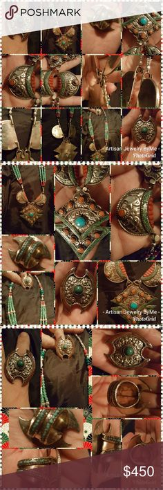 SALEArtisan2PcTibetNepaleseHandmadeCoralTurquoise Amazing Handmade Set Each is hand soldered welded pieces of Tibetan Silver over Brass & Copper bases.This includes A Mosaic of green and teal blue Turquoises pieces in Necklace and Ring band. Larger pieces are various shape beads and focal points. Woven with Red and Orange Coral.Dangling Moving Pendant pieces enhance its Beauty. This is Tibetan Silver& may or may not leave a resodue of green on finger from persperation. UNEVEN HAND CUT METAL…